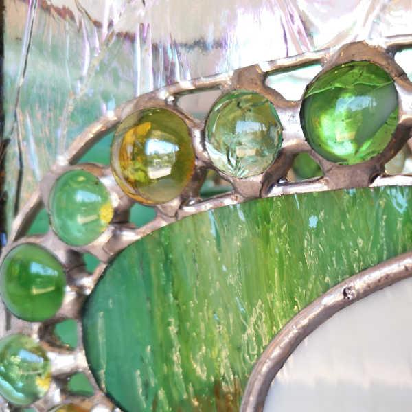 Cache-vase en Vitrail - Vert et ambre -Détail- Sud Vitrail Mosaïque