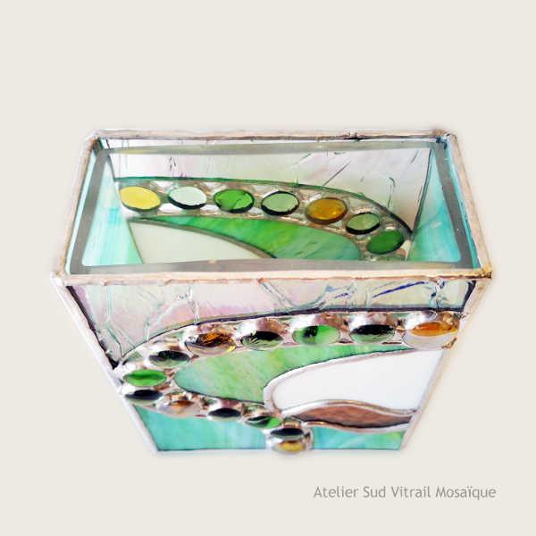 Cache-vase en vitrail Tiffany – vert clair