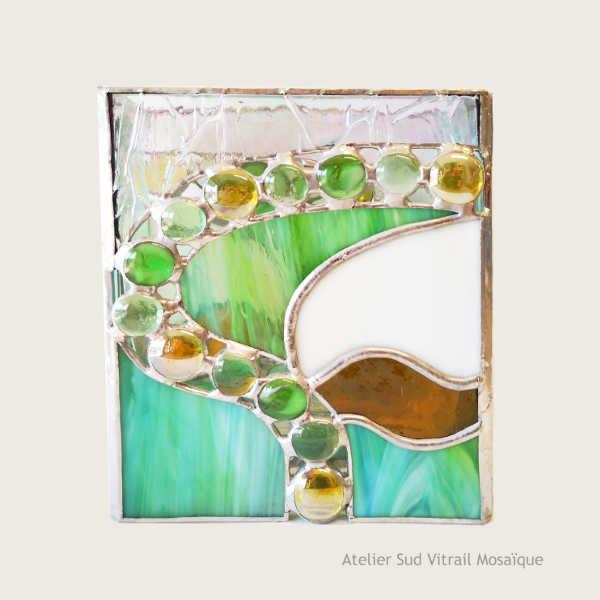 Cache-vase en Vitrail - Vert et ambre - Sud Vitrail Mosaïque