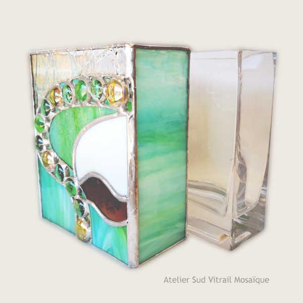 Cache-vase2 en Vitrail - Vert et ambre - Sud Vitrail Mosaïque