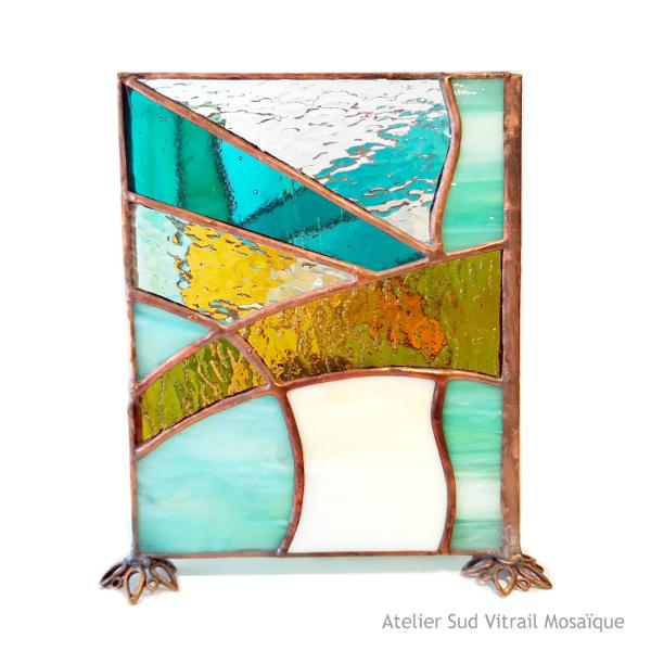 Lampe en vitrail tiffany Art Déco - vert-ambre-beige - Sud Vitrail Mosaique