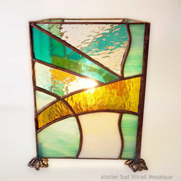 Lampe vitrail Art Déco vert d'eau zen