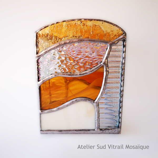 Photophore en Vitrail Tiffany - Ambre et Orangé - Sud Vitrail Mosaïque