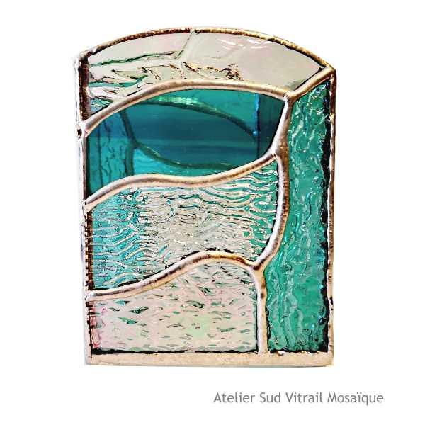 Photophore vert Jade en Vitrail Tiffany - Sud Vitrail Mosaique