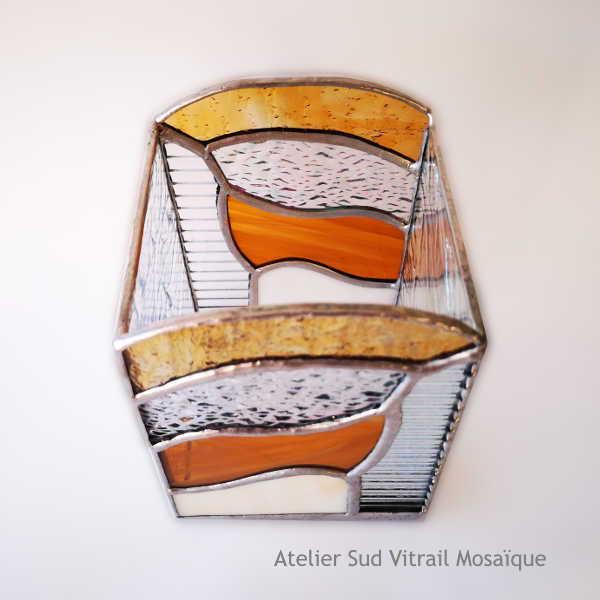 Photophore1 en Vitrail Tiffany - Ambre et Orangé - Sud Vitrail Mosaïque