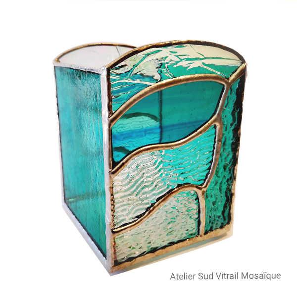 Photophore vert Jade en Vitrail Tiffany 1- Sud Vitrail Mosaique