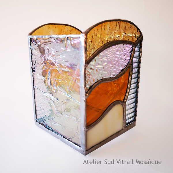 Photophore2 en Vitrail Tiffany - Ambre et Orangé - Sud Vitrail Mosaïque