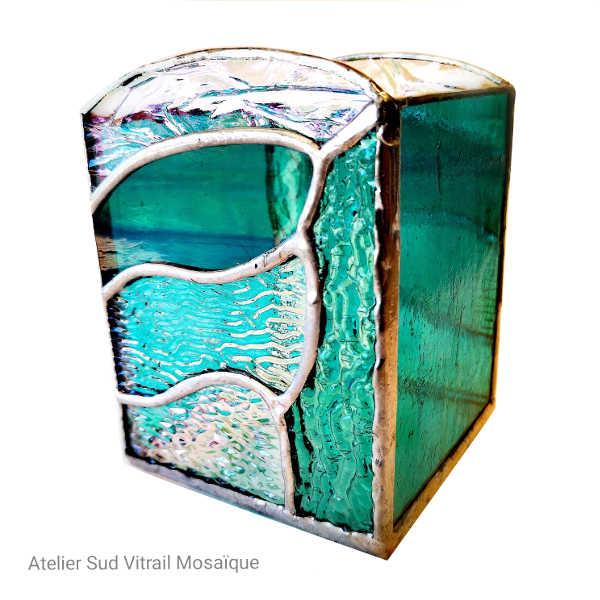 Photophore vert Jade en Vitrail Tiffany 2- Sud Vitrail Mosaique