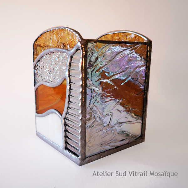 Photophore3 en Vitrail Tiffany - Ambre et Orangé - Sud Vitrail Mosaïque