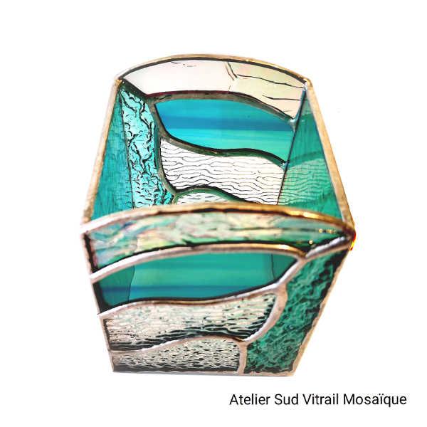 Photophore vert Jade en Vitrail Tiffany 3- Sud Vitrail Mosaique