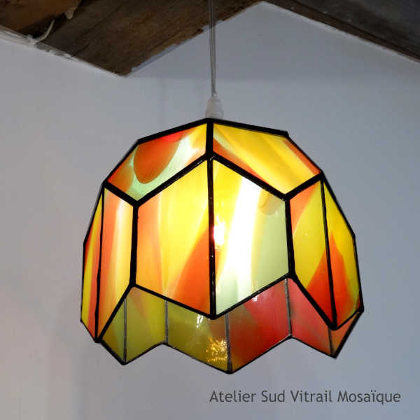 Suspension vintage orange en vitrail Tiffany - Sud Vitrail Mosaïque