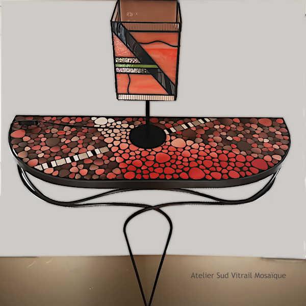 Lampe en Vitrail Tiffany de style Art déco - Création Sud Vitrail Mosaïque