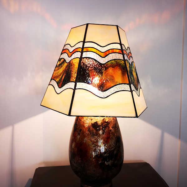 Luminaire en vitrail tiffany ambre - Sud Vitrail Mosaique