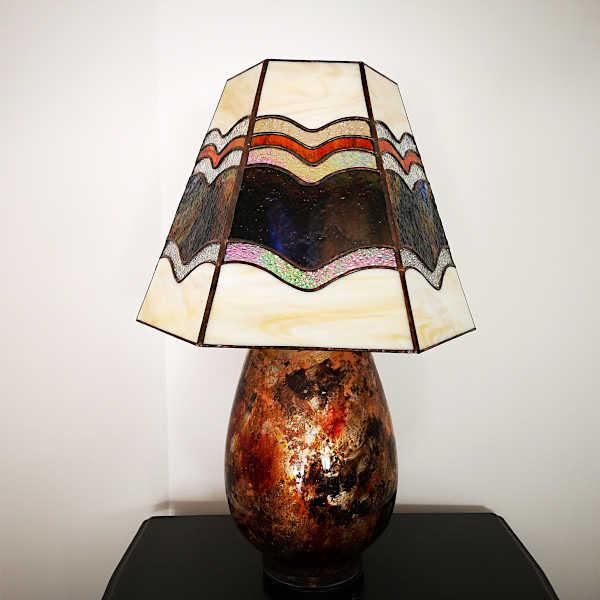 Luminaire vitrail tiffany - Ambre- Sud Vitrail Mosaique