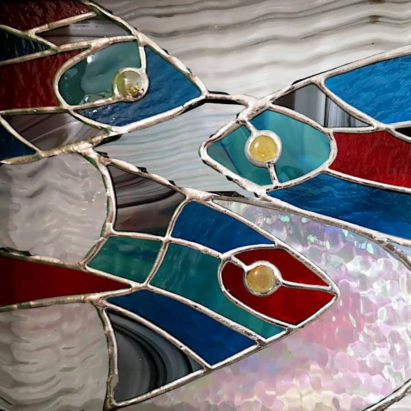 Tableau Lumineux en Vitrail Tiffany - Poissons - Atelier Sud Vitrail Mosaique