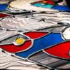 Tableau Lumineux en Vitrail Tiffany - Poissons Détail - Sud Vitrail Mosaique