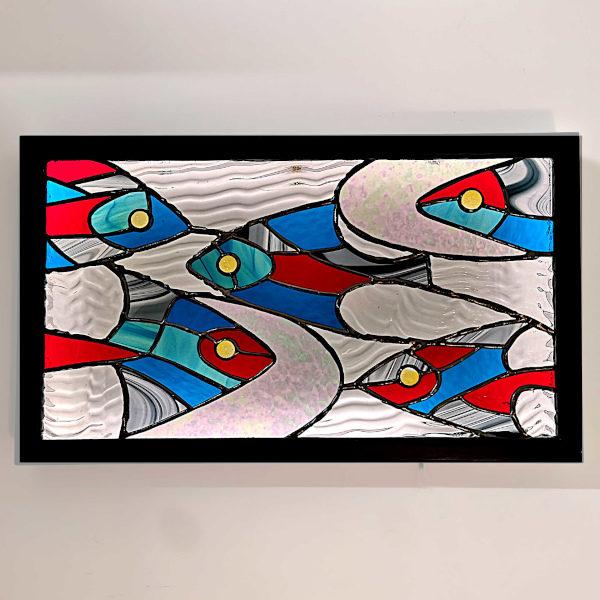 Tableau lumineux en vitrail Tiffany – Banc de poissons multicolores
