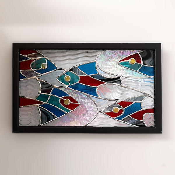 Tableau Lumineux en Vitrail Tiffany - Poissons - Atelier Sud Vitrail Mosaïque