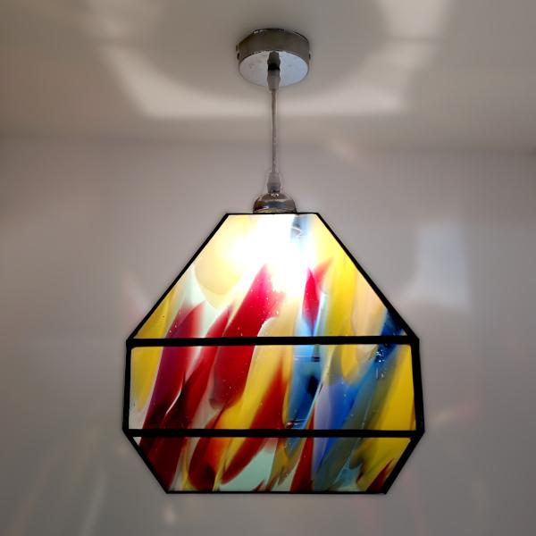 Suspension multicolore en Vitrail Tiffany - Pièce unique Sud Vitrail Mosaïque