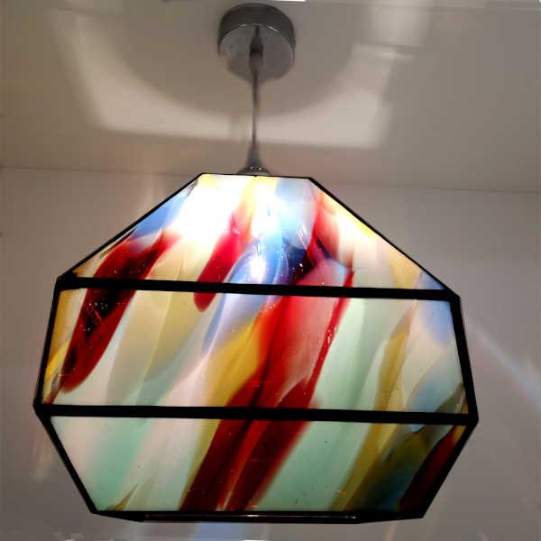 Suspension multicolore en Vitrail Tiffany - Création Atelier Sud Vitrail Mosaique
