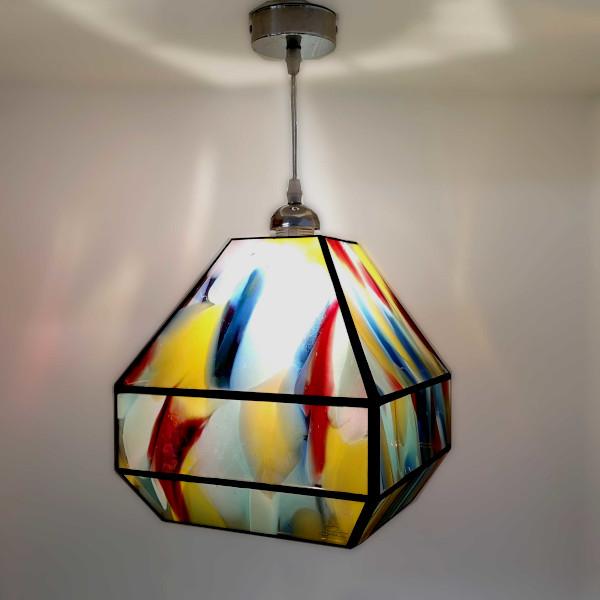Suspension multicolore en Vitrail Tiffany - Création Sud Vitrail Mosaique