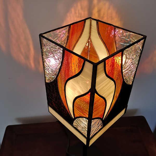 Lampe Vitrail Tiffany - Orange - Sud Vitrail Mosaique