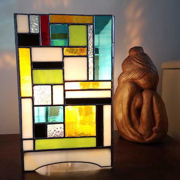 Lampe en Vitrail Tiffany multicolore